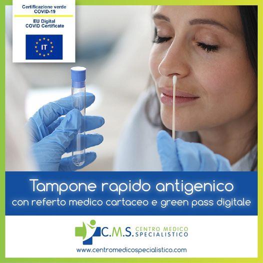 Tampone rapido antigenico con referto medico cartaceo e green pass digitale